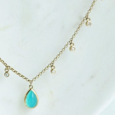 Castellano Fine Jewerly - Blue Green Chrysocolla Teardrop & Diamond Necklace